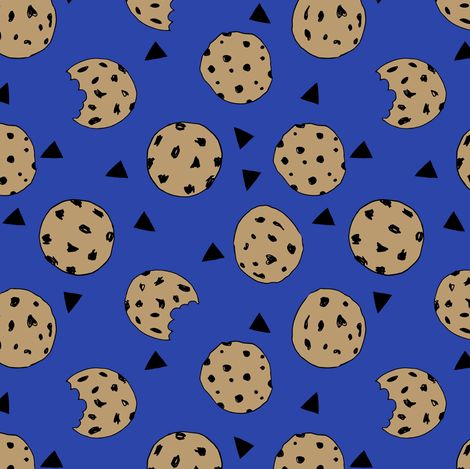 cookies // bright blue cookie fabric cute cookies cookie design kids fabrics fabric by andrea_lauren on Spoonflower - custom fabric