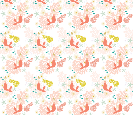 Coral Reef Mermaids // Blonde fabric by ivieclothco on Spoonflower - custom fabric