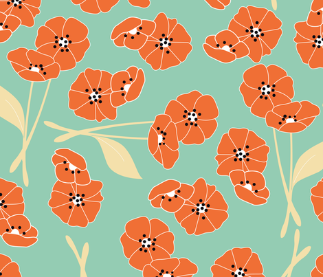 Retro flower pattern 002 fabric by bluelela on Spoonflower - custom fabric