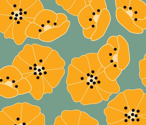 Retro flower pattern 006 fabric by bluelela on Spoonflower - custom fabric
