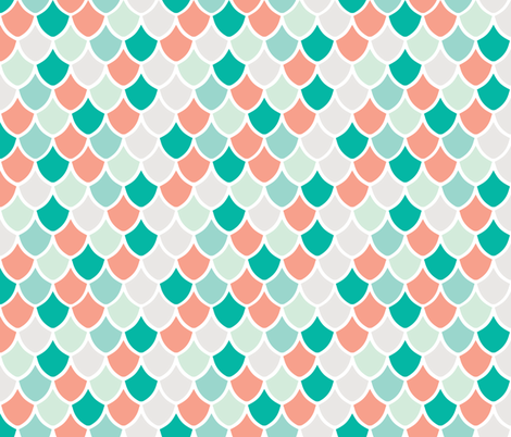 coral + teal mermaid scales fabric by ivieclothco on Spoonflower - custom fabric