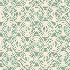 Vintage Antique Quilt Circles || Abstract Dots Spots Pastel Cream Green _ Miss Chiff Designs