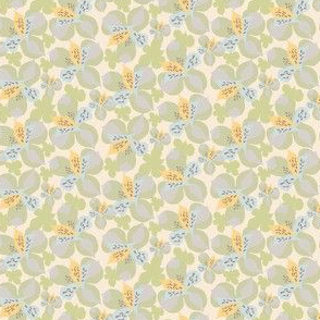 17-04P Antique Vintage Quilt Floral Pastel    Flower Sky Blue Olive Green Pastel Cream Yellow Gray grey _ Miss Chiff Designs