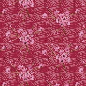 Vintage Antique Quilt || Cherry Blossom Floral Red Waves _ Miss Chiff Designs