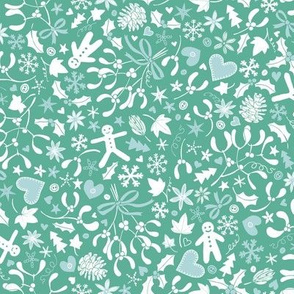 Mistletoe & Gingerbread Ditsy - Ice blue and teal