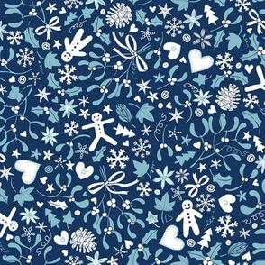 Mistletoe & Gingerbread Ditsy - Blue and white
