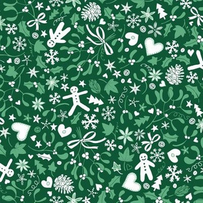 Mistletoe & Gingerbread Ditsy - Mint and white