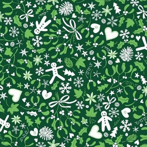 Mistletoe & Gingerbread Ditsy - Green and white