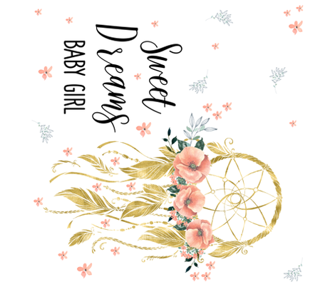 Sweet Dreams Baby Girl Dream Catcher Quote In Gold Fabric
