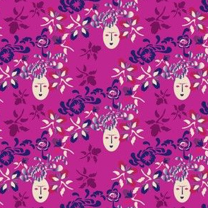Kabuki Floral Faces on Pink_Miss Chiff Designs