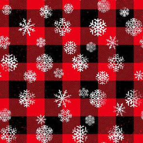 Snowflake Buffalo Plaid Black Red