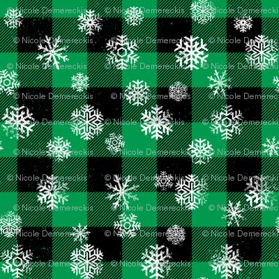 Snowflake Buffalo Plaid Green Black