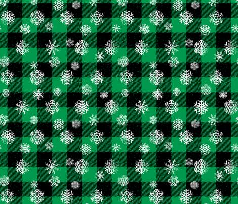 Snowflake Buffalo Plaid Green Black fabric by wickedrefined on Spoonflower - custom fabric