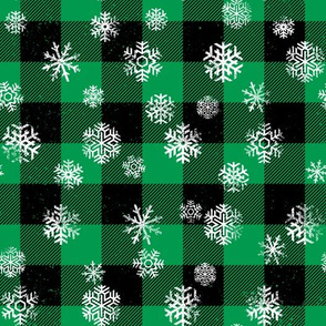 Snowflake Buffalo Plaid Green Black