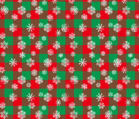 Christmas Snowflake Buffalo Plaid Red Green fabric by wickedrefined on Spoonflower - custom fabric