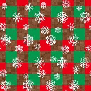 Christmas Snowflake Buffalo Plaid Red Green