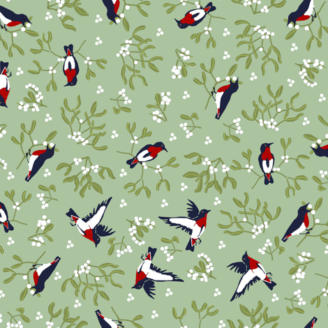 Mistletoe is for the Ditsy Birds fabric by eclectic_house on Spoonflower - custom fabric