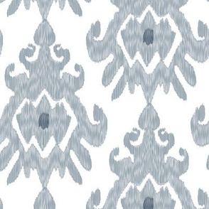 Ikat Slate Blue Gray White Ethnic Tribal_Miss Chiff Designs