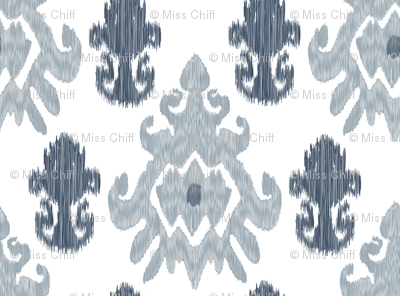 17-11M Modern Ethnic Tribal Ikat || Large Indigo Blue Gray Grey Silver White _ Miss Chiff Designs
