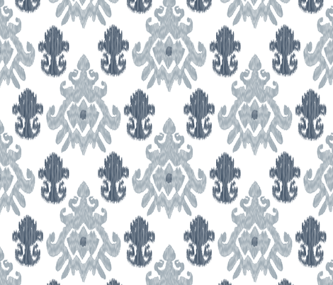17-11M Modern Ethnic Tribal Ikat || Large Indigo Blue Gray Grey Silver White _ Miss Chiff Designs fabric by misschiffdesigns on Spoonflower - custom fabric