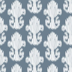 Ikat White Slate Indigo Slate Blue Gray Grey  || Large Scale  Texture Tribal_Miss Chiff Designs