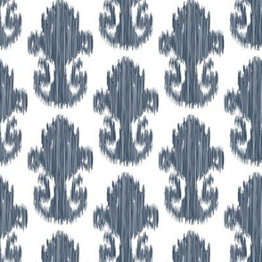 Modern Ikat Slate Indigo Slate Blue grey Gray White Ethnic Tribal _Miss Chiff Designs