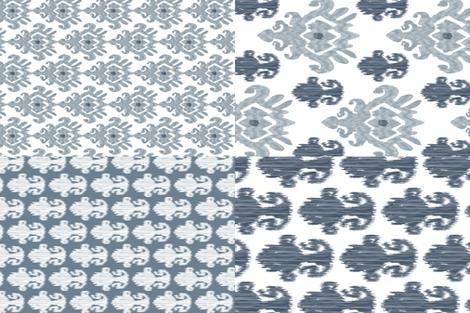 "54"" Fat Quarter Tea Towels || Ikat Indigo Blue Gray Grey Silver _Miss Chiff Designs fabric by misschiffdesigns on Spoonflower - custom fabric"