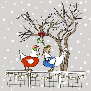 Mistletoe Chickens on Fence - Large