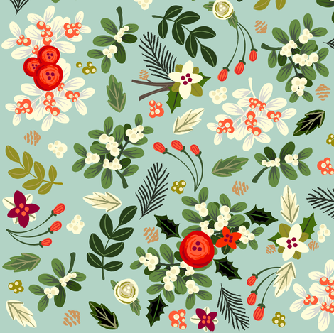 Vintage Ditsy Mistletoe fabric by ginamayes on Spoonflower - custom fabric