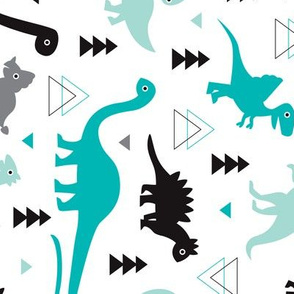 Adorable dino boys fabric with black and blue dinosaur geometric triangles and funky animal illustration theme for kids Flipped