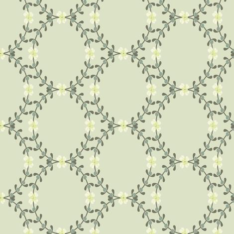 Ditsy Mistletoe Wreath fabric by paula_ohreen_designs on Spoonflower - custom fabric