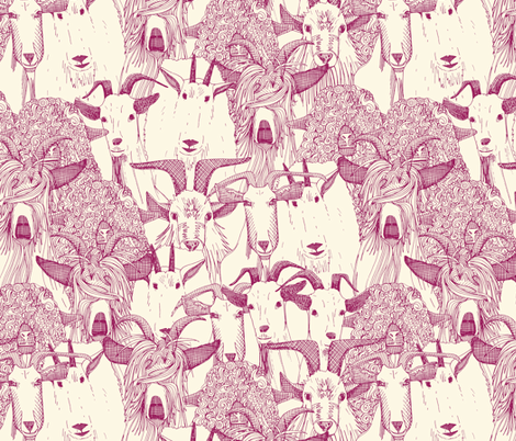 just goats cherry pearl fabric by scrummy on Spoonflower - custom fabric