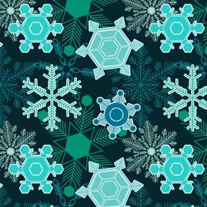 Snowflakes in Turquoise and Teal