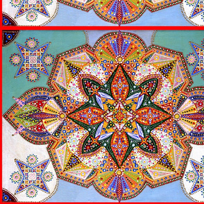 Kaleidoscope folk art tribal abstract geometrical patterns colorful rainbow