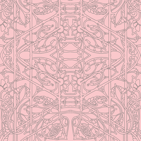Simple Art Nouveau Line art in Pink and Gray5985027 fabric by edsel2084 on Spoonflower - custom fabric