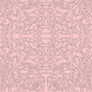 Simple Art Nouveau Line art in Pink and Gray5985027