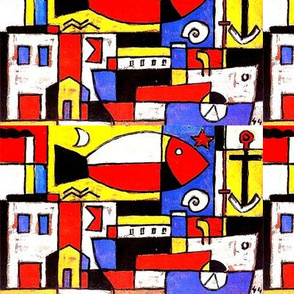 Mondrian abstract geometric modern fishes ships boats moon anchor stars buildings smoke chimneys shells cubism