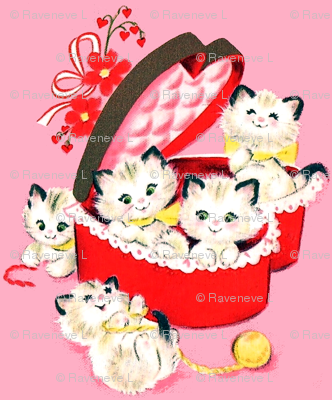 kittens cats hearts flowers bows ribbons boxes yarn wool valentine vintage retro kitsch playing