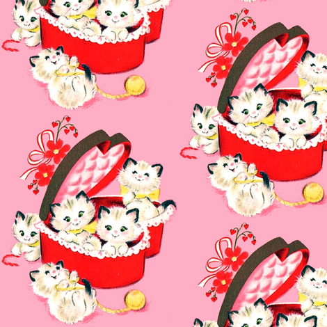 kittens cats hearts flowers bows ribbons boxes yarn wool valentine vintage retro kitsch playing fabric by raveneve on Spoonflower - custom fabric