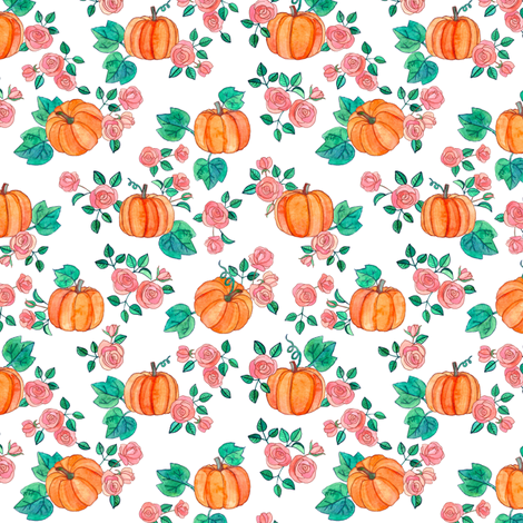 Tiny Pumpkins and Roses in watercolor on white fabric by micklyn on Spoonflower - custom fabric