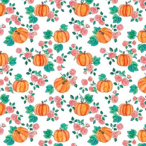 Tiny Pumpkins and Roses in watercolor on white