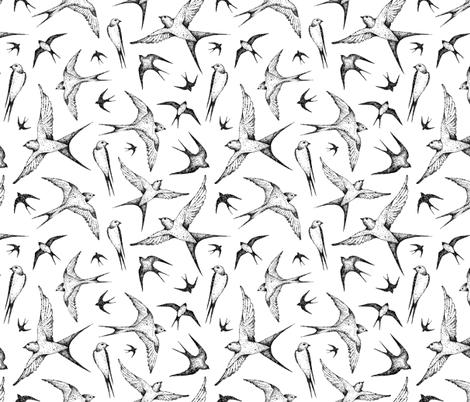 cute swallow fabric by artn'lera on Spoonflower - custom fabric