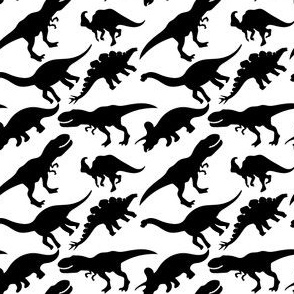 Black and White Dinosaurs Dino Nursery Trex Red Blue Green Yellow Orange