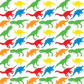 Dinosaurs Dino Nursery Trex Red Blue Green Yellow Orange