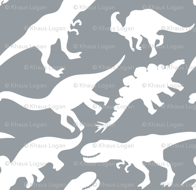 Grey and white dinosaurs dino nursery trex fabric khaus for Grey dinosaur fabric