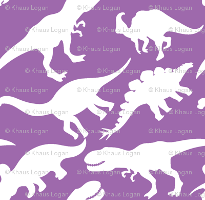 Purple and White Dinosaurs Dino Nursery Trex