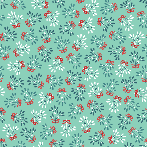 Ditsy mistletoe with red ribbon fabric by petitspixels on Spoonflower - custom fabric