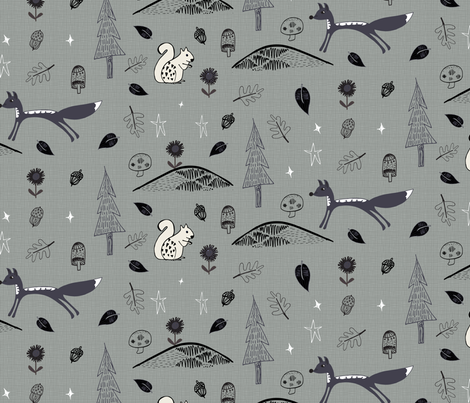 Black and Grey Woodland fabric by pixabo on Spoonflower - custom fabric