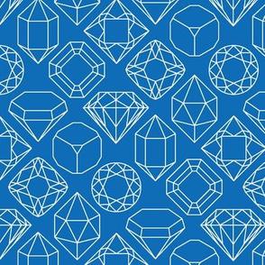 Blue and White Diamond Gem Jewel Shape Outlines
