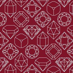 Garnet and White Diamond Gem Jewel Shape Outlines